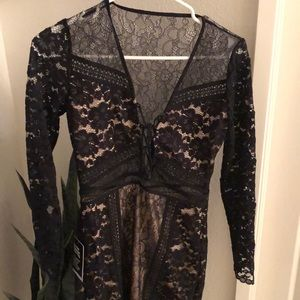 Express black lace, long sleeved dress NWT